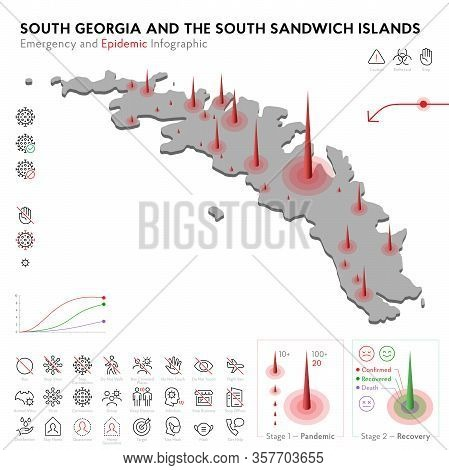 Map Of South Georgia Epidemic And Quarantine Emergency Infographic Template. Editable Line Icons For