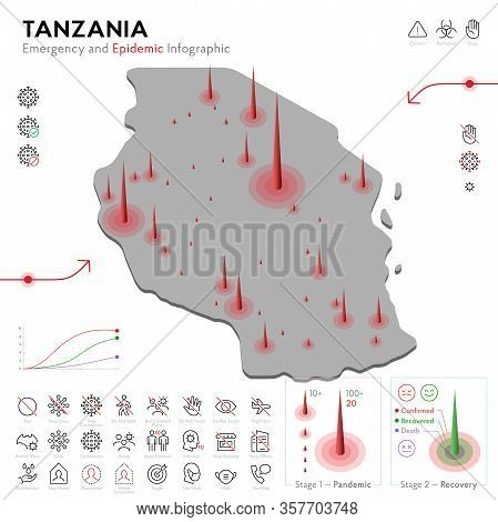 Map Of Tanzania Epidemic And Quarantine Emergency Infographic Template. Editable Line Icons For Pand