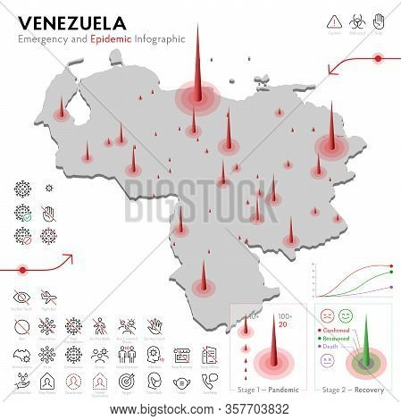 Map Of Venezuela Epidemic And Quarantine Emergency Infographic Template. Editable Line Icons For Pan