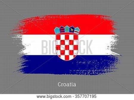 Croatia Official Flag In Shape Of Paintbrush Stroke. Croatian National Identity Symbol. Grunge Brush