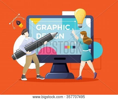 Vector Young Man And Woman Drawing With Pen In Graphic Editor. Graphic Designer Hiring Concept. Desi