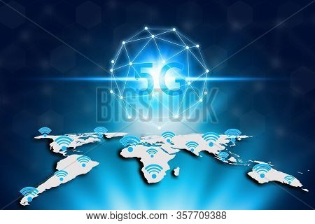 Virtual Screen 5g Network And Wifi On The World Map, World Map On A Technology 5g Background, Techno