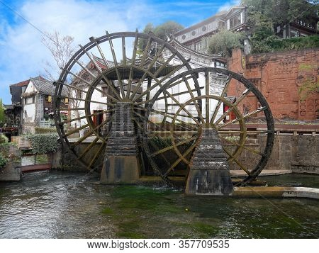 The Giant Water Wheels In Lijiang Old Town, Yunnan, China