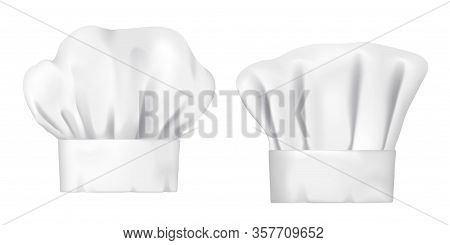 Chef Hats, Realistic 3d Cook Cap And Baker Toque. White Chef Hats Vector Design Of Bakery, Pastry An