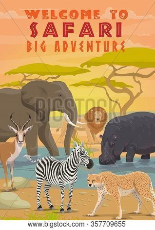 African Animals Of Safari Tour, Hunting Sport And Outdoor Adventure. Vector Elephant, Zebra, Lion An
