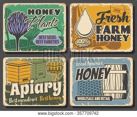 Honey Of Beekeeping Farm, Apiary Honeycombs And Beehives, Vector Food. Bee Plants, Clover Flower Nec