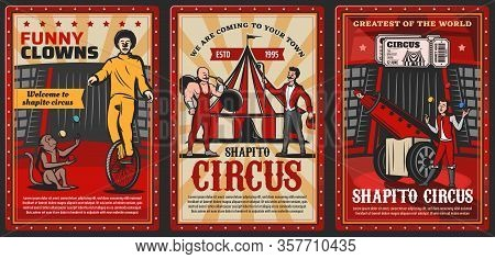 Circus Performers On Chapiteau Top Tent Arena Vector Posters Of Carnival Show. Clown, Acrobat And Ju