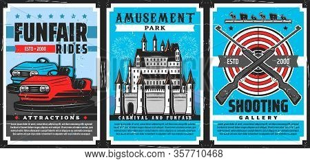 Amusement Park Rides, Shooting Gallery, Carnival And Funfair Castle Vector Design Of Entertainment I