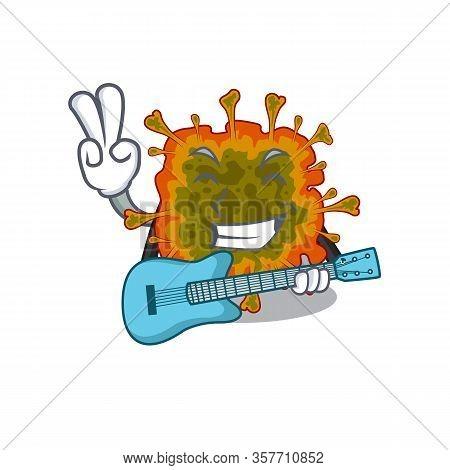 Supper Cool Duvinacovirus Cartoon Playing A Guitar