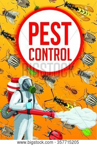 Extermination Of Agricultural Crop Insects, Pest Control Vector Design. Exterminator With Pesticide