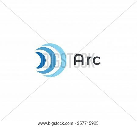 Abstract Arc Icon, Blue Radio And Wifi Waves. Signal Logo Template, Flat Abstract Emblem. Concept Lo