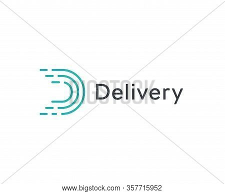 Abstract Delivery Icon, Turquoice Linear Letter D. Dashes Lines Logo Template, Flat Abstract Emblem.