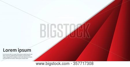 Abstract Red Line Geometric On Overlap White Texture And Banner Design Template. Vector Illustration