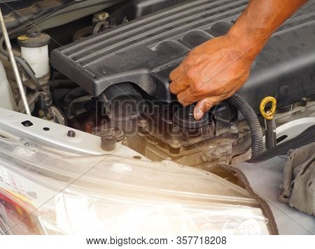 Hand Is Twisting The Engine Oil Cap.car Maintenance Technician He Is Checking The Auto Engine, Car I