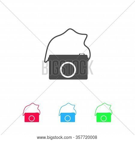 Camera Icon Flat. Color Pictogram On White Background. Vector Illustration Symbol And Bonus Icons