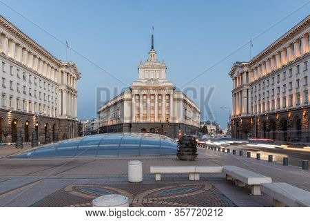 Sofia, Bulgaria - February 29, 2020: Square Nezavisimost With Former Communist Party House In Sofia,