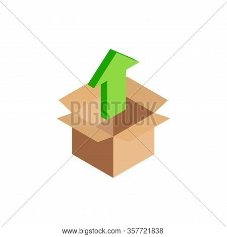 Isometric Upload Icon, 3d Green Up Arrow Symbol In Open Cardboard Box Isolated. Uploading Process Co