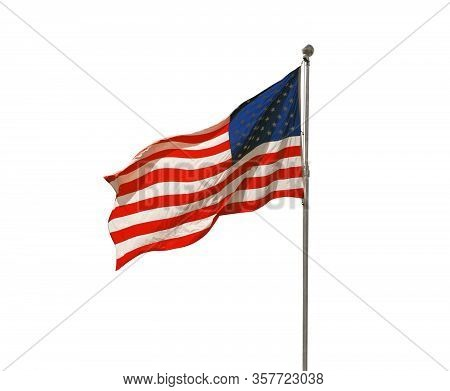 American Flag Flapping Isolated On White Background