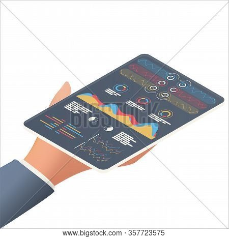Statistical Data Presented In The Form Of Digital Graphs And Charts On The Tablet In The Hand Of A B