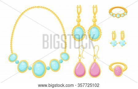 Necklace And Earrings With Gemstones Vector Set. Accessories For Women