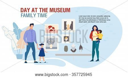 Amusement For Family At Museum Motivation. Landing Page Design With Happy Parents And Kids Visiting
