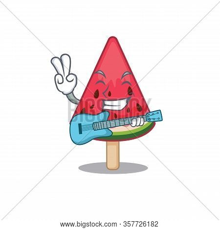 Supper Cool Watermelon Ice Cream Cartoon Playing A Guitar