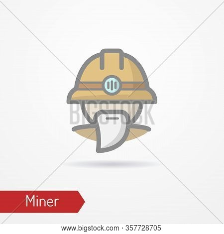 Typical Simplistic Miner Face In Professional Helmet With Light. Miner Or Digger Head Isolated Icon