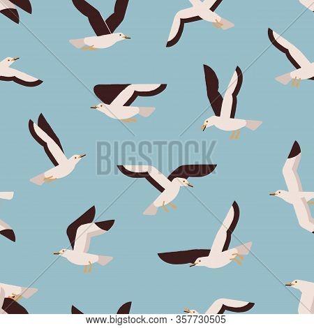 Cartoon Colorful Flight Marine Bird Seamless Pattern. Atlantic Seabird Creature Enjoying Freedom On
