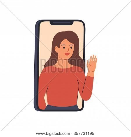 Young Woman Speaks From A Smartphone Display. Happy Girl On The Phone Is Having A Remote Conversatio