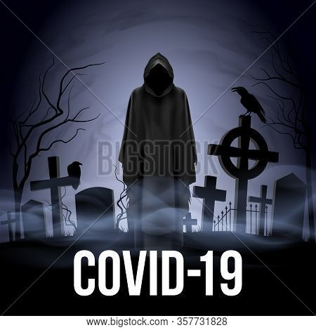 Illustration Of Angel Of Death On The Cemetery. Apocalypse And Hell Concept Design Coronavirus Epide