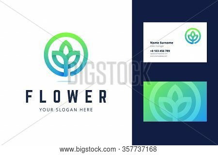 Flower Logo And Business Card Template. Vector Illustration With Lotus Flower Sign For Cosmetics Bra