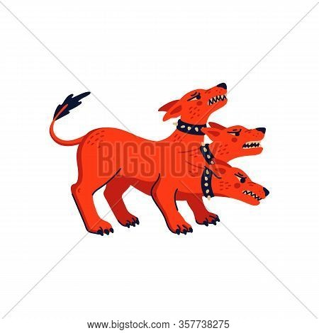 Magical Creatures Set. Mythological Animal - Cerberus. Flat Style Vector Illustration Isolated On Wh