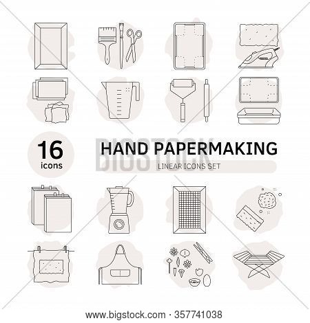 Items For Hand Papermaking Icon Set Vector