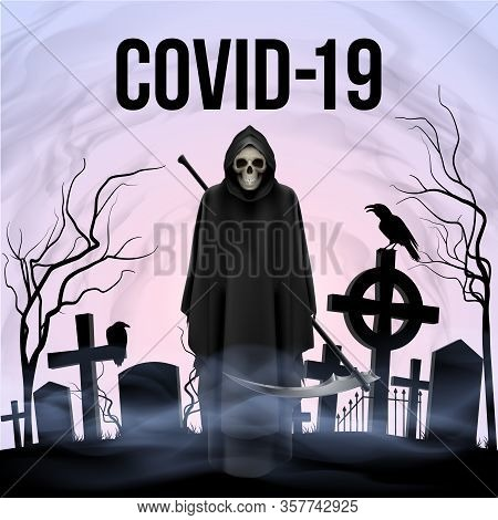 Illustration Of Angel Of Death With A Scythe On The Grave Yard In The Morning. Apocalypse And Hell C