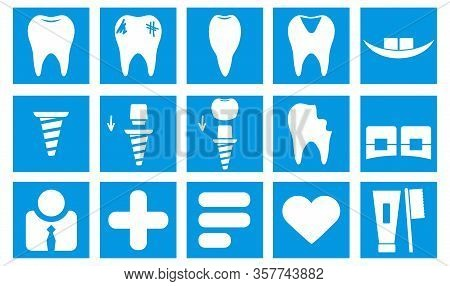 Dental Icons Set. Simple Vector Illustration Collection Thin Blue