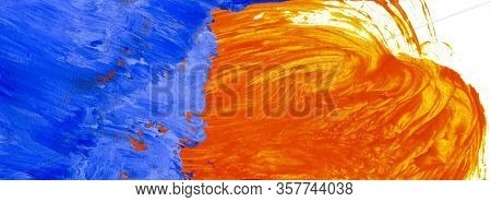 Hand Painted Color Background In Blue And Orange Hues Of Acrylic Paints. Light Brush Work, Watery Wa
