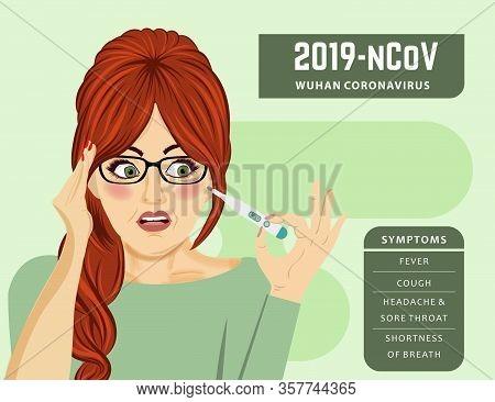 Woman With Fever. Coronavirus Disease, Covid-19. Vector