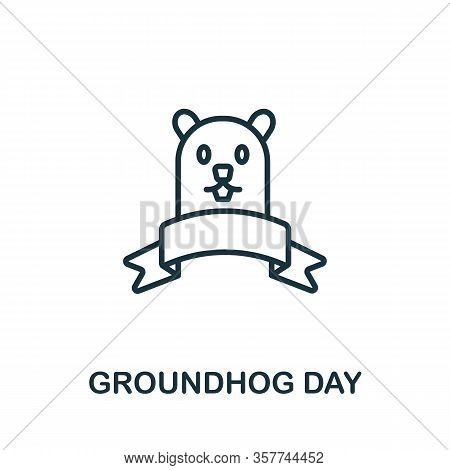 Groundhog Day Icon From Hollidays Collection. Simple Line Groundhog Day Icon For Templates, Web Desi