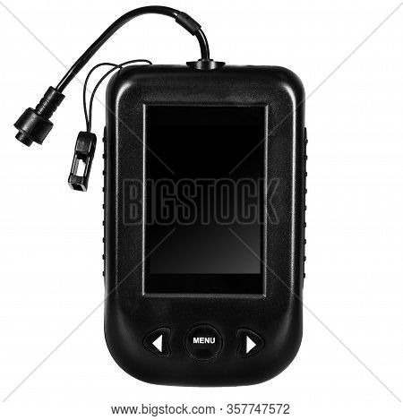 Fish Finder With Blank Black Display. Fishing Sonar (echolot) For Boat Isolated On White