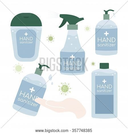 Hand Sanitizer Bottle Isolated. Disinfection. Alcohol Gel Used Against Viruses, Bacteria, Flu, Coron