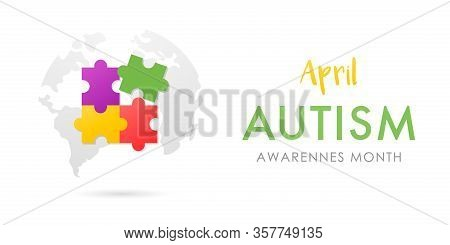 April World Autism Awareness Month Banner.  Bright Design With Autism Emblem. Stock Vector Illustrat
