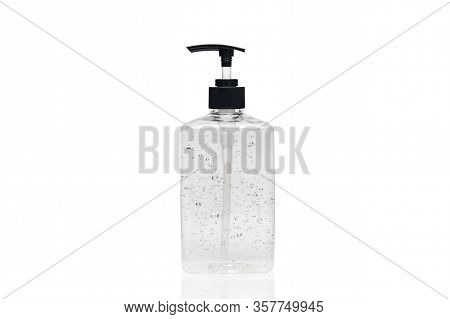 Hand Sanitizer Alcohol Gel In Transparent Plastic Bottle Pump Isolated On White Background For Disin