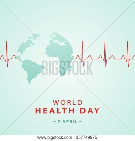 World Health Day Concept Banner With Planet Earth Shape And  Heart Cardiogram . Medicine And Healthc