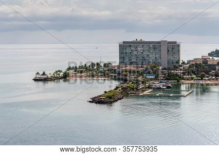 Ocho Rios, Jamaica - April 22, 2019: Coastline View With Dolphin Cove Moon Palace, In The Tropical C