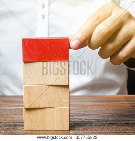 Man Builds A Tower Of Blocks. Emphasize Significance, Set Attention. Create A Plan Order. Contract A