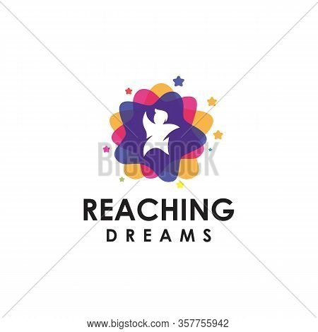 Reaching Logo Achieve Dreams And Success, Vector