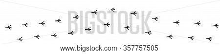 Bird Feet Toe Trail Trace Track Sign Symbol Line. Animal Footprint Set. Black Color Silhouette. Cute