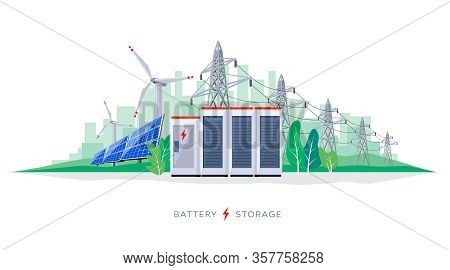 Renewable Solar And Wind Energy Battery Storage Smart Grid System With Power Lines.
