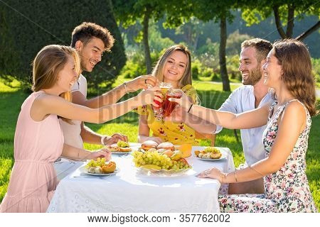Group Of Young People Having Picnic Party Outdoors In Park, Clinking Glasses.