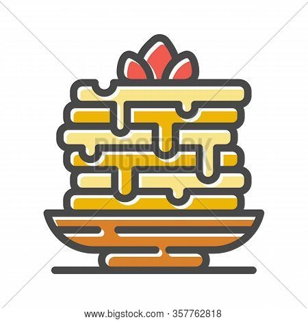 Layer Gateau, Cake Garnished Buttercream Flower Thin Line Icon Isolated On White. Stack Of Pancakes